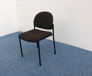 Chaise visiteur tissus en marron empilable Italy