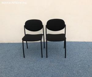 Chaise visiteur tissus en noir empilable Italy